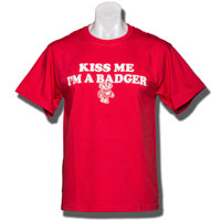 "Image For Champion ""Kiss Me I'm A Badger"" T-Shirt (Red)"