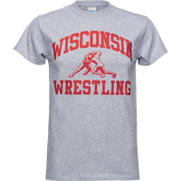 Image For Top Promotions Wisconsin Sport T-Shirt, Wrestling (Gray)