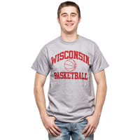 Cover Image For Top Promotions Wisconsin Sport T-Shirt, Basketball (Gray)