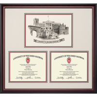 Image For Alumni Artwork University of Wisconsin Double Diploma Frame