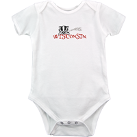 Image For College Kids Baby Bucky Badger Onesie (White)