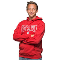 Cover Image For Champion Wisconsin Hooded Sweatshirt (Red)