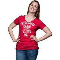 Cover Image For Champion Women's Wisconsin Badgers V-Neck T-Shirt (Red)