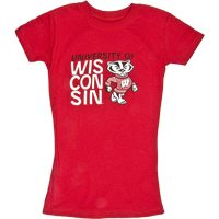 Image For College Kids Girl's UW T-Shirt (Red)