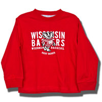 Cover Image For College Kids Toddler Long Sleeve Wisconsin T-Shirt (Red)