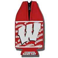 Image For Jenkins Wisconsin Badgers Zipper Bottle Coozie (Red)