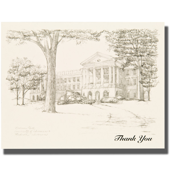 Branding Bascom Hall With Big Red W >> Overly Bascom Hall Thank You Notes University Book Store