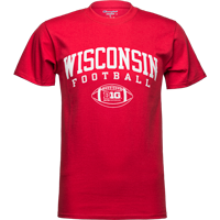 Image For Champion Big 10 Wisconsin Football T-Shirt (Red)