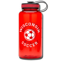 Image For Spirit Products Sport Bottle Soccer (Red)