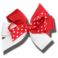 Cover Image For Ashley on Campus Small Hair Bow (Red/White)