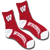 Image For For Bare Feet Wisconsin Crew Socks (Red)