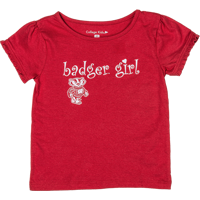 Image For College Kids Girl's Badger Girl T-Shirt (Red)