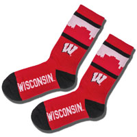 Image For For Bare Feet Skyline Wisconsin Socks (Red/Black)