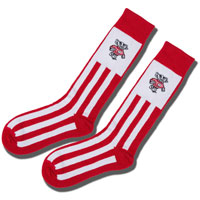 Image For For Bare Feet Striped Bucky Badger Socks (Red/White)