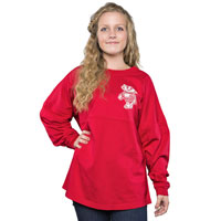Image For Boxercraft Women's WI Pom Pom Long Sleeve T-Shirt (Red) *